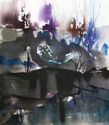 Landscape Series. Untitled #1. Watercolor on paper. 14 x 12 inches