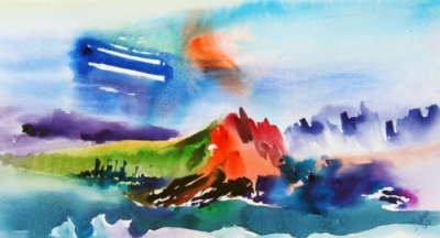 Landscape Series. Untitled #16. Watercolor on paper. 19 x 10.5 inches