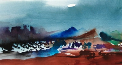 Landscape Series. Untitled #4. Watercolor on paper. 15.5 x 8.25 inches