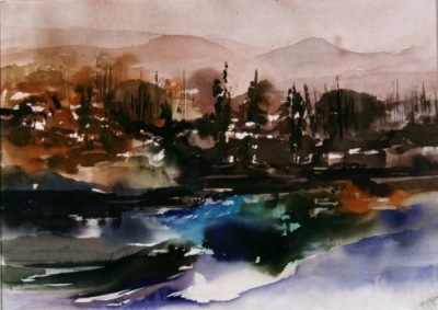 Landscape Series. Untitled #8. Watercolor on paper. 14.75 x 10.5 inches