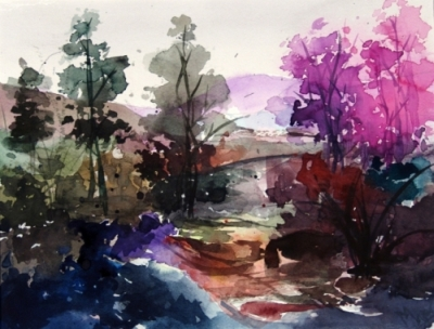 Landscape Series. Untitled #10. Watercolor on paper. 11 x 8.5 inches
