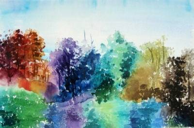 Landscape Series. Untitled #11. Watercolor on paper. 17.25 x 11.5 inches