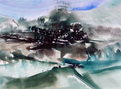 Landscape Series. Untitled #12. Watercolor on paper. 18.5 x 13.5 inches