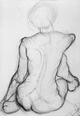 Back view. Pencil on paper.