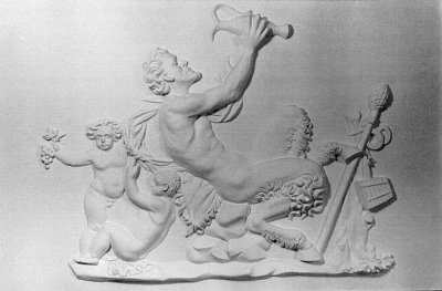 Bacchus (Satyr). Plaster (two panels).