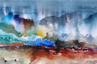 Landscape Series. Untitled #14. Watercolor on paper. 13 x 8.5 inches