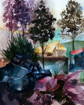 Landscape Series. Untitled #19. Watercolor on paper. 9.75 x 12 inches