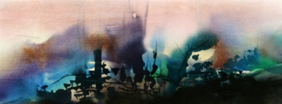 Landscape Series. Untitled #17. Watercolor on paper. 14 x 5.25 inches