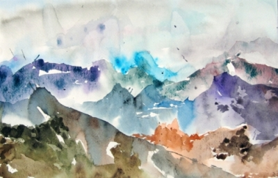 Landscape Series. Untitled #20. Watercolor on paper. 17.25 x 11.25 inches