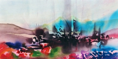 Landscape Series. Untitled #30. Watercolor on paper. 16 x 8.25 inches