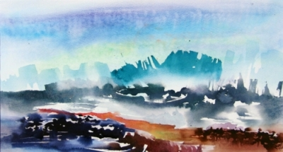 "Landscape Series. Untitled #32. Watercolor on paper. W. 28.5"" x H. 20.5"""