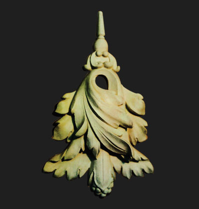 Acanthus leaf. Design for crown molding. Clay. 5 inches wide x 12 inches high
