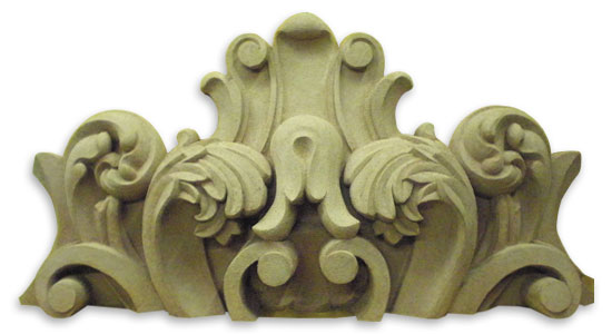 Cartouche. Design for molding. Oil based Clay. 4 ft. wide x 2 ft. high x 9 inches