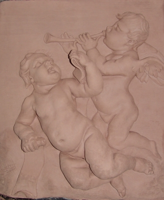 Putti. Clay terra-cotta. 33x27 inches (Private collection, NY) After Francois Duquesnoy (terra-cotta)