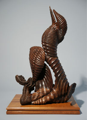 "Composition of Forms, 2010. Wood (walnut). H. 23"" x W. 17"" x D. 13"""