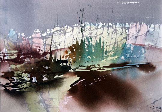 Landscape Series. Untitled #48. Watercolor on paper. 14 x 10 inches