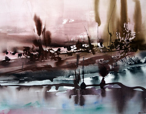 Landscape Series. Untitled #50. Watercolor on paper. 27 x 21 inches