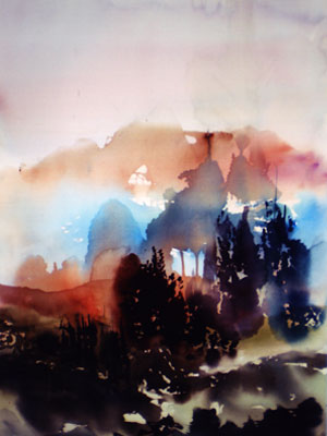 Landscape Series. Untitled #37. Watercolor on paper. 13.5 x 21 inches;