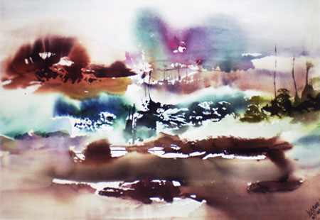 Landscape Series. Untitled #38. Watercolor on paper. 28.75 x 20.5 inches