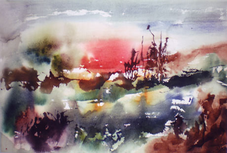 Landscape Series. Untitled #39. Watercolor on paper. 21 x 13.5 inches
