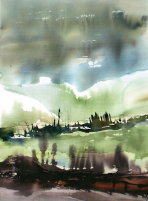 Landscape Series. Untitled #41. Watercolor on paper. 21.25 x 29.25 inches