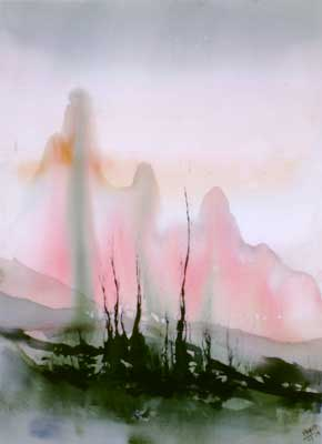 Landscape Series. Untitled #42. Watercolor on paper. 21.25 x 29 inches