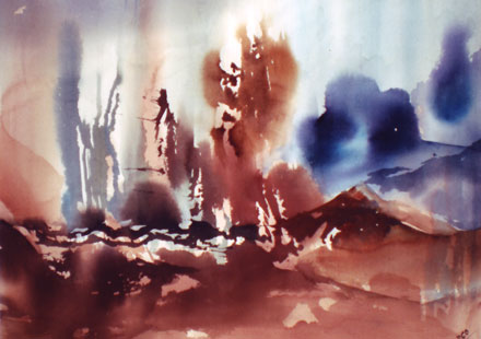 Landscape Series. Untitled #44. Watercolor on paper. 20 x 14.75 inches